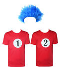 Kids Blue Wig Thing 1 Thing 2 Red T-Shirt Fancy Dress Costume