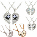 2PCs Panda Crystal Heart Pendant Necklace Silver Gold Jewelry BFF Best Friend