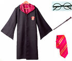 Black Cloak Adult/Kids Wizard Costume Red Robe Glasses Wand Tie World Book Day