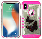 For Apple iPhone X - KoolKase Hybrid Shockproof Cover Case - Crystal Butterfly