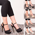 Ladies Womens High Heel Buckle Ankle Strappy Party Slop On Flower Prom Shoe Size