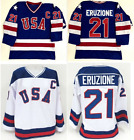 #21 Mike Eruzione 1980 Miracle On Ice USA Hockey Jersey WHITE and Blue S-2XL