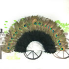 Big Folding Feather Hand Fan Peacock Eye Dance Costume Party Show Fancy Ball