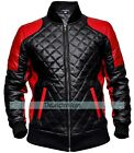 New Men's Red and Black Quilted Fashion Biker Real Leather Jacket, XXS - 3XL