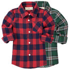 Spring Autumn Child Kids Toddlers Boy Classic Plaid Long Sleeve Shirt Top 3-9Y