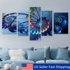 Art - 5Pcs Frame Modern Blue Peacock Canvas Print Art Painting Wall Picture Home Decor