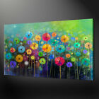 COLOURFUL ABSTRACT GARDEN LANDSCAPE WALL ART CANVAS PRINT PICTURE SPRING FLOWERS
