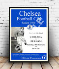 Chelsea V Fulham : Old football program, poster, Wall art, poster, reproduction.