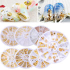Gold Silver 3D Nail Art Decoration Studs Charms Multi-shape Metal Manicure Wheel