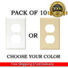 Внешний вид - 10 PACK WHITE IVORY SINGLE ELECTRICAL OUTLET DUPLEX WALL FACE PLATES COVER LOT