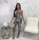 Fashion Women's Hollow Out Irregular Print Bodycon Jumpsuit Casual Clubwear