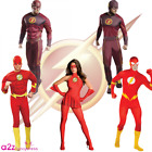 MENS THE FLASH DELUXE MUSCLE CHEST 2ND SKIN SUPERHERO COMIC FANCY DRESS COSTUME