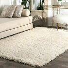 nuLOOM HandmadeContemporary Modern Solid Wool Area Rug in Ivory White