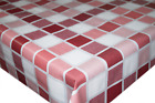 Linen Checkered Red & Pink PVC Tablecloth Vinyl Oilcloth Kitchen Dining Table