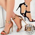 Womens Ladies Stilettos Heels Diamante Sandals Sparkly Barely There Party Size