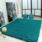 Small Large Medium TEAL BLUE Thick Soft Shaggy Rug Non Shed Pile Carpet Rugs New
