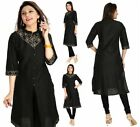 Indian Pakistani Designer Party Black Cotton Kurta Kurti Tunic Dress Women MM103