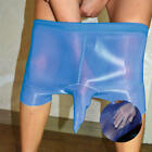 ElsaYX Men's Shiny Glossy Pantyhose Boxer Trunks Underwear Sheath Close
