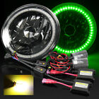 "7"" Round H6024 Black Crystal Green SMD Halo Diamond Headlights/3000K HID Kit $66.95 USD on eBay"