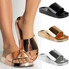 Womens Ladies Summer Sliders Sandals Bling Flat Jelly Slip On Gold Diamante New