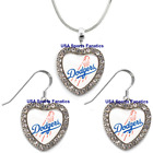 Los Angeles Dodgers 925 Necklace / Earrings or Set Team Heart With Rhinestones on Ebay