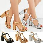Sandals Mid Block Heel Womens Ladies Party Wedding Bridal Comfort Strappy Size
