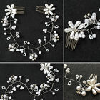 Bridal Wedding Hair Comb Silver Crystal Diamante Pearl Hairpiece Side Clips Prom