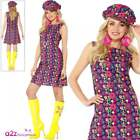 Womens 1960s Psychedelic CND Adult Ladies Retro Mod Hippie Fancy Dress Costume