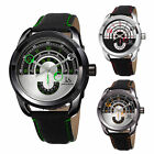 Men's Joshua & Sons JX129 Quartz Movement Arc-Themed Dial Leather Strap Watch