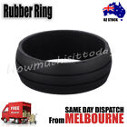 Rubber Silicone Active Ring Outdoor Party Wedding Band 2 Line Grooves - Black
