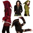 pixie hood jacket - Pixie Hood Fleece Jacket, Hippy Festival Clothing, Zip Up Hoodie, Psy Trance Top