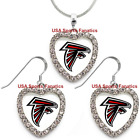 Atlanta Falcons 925 Necklace / Earrings or Set Team Heart With Rhinestones $14.99 USD on eBay