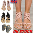 Summer Womens Low Heel Flats Cross Strap Ladies Gladiator Sandals Shoes size 2-7
