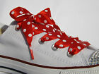 Red Navy Black Polka Dot Ribbon Shoelaces with LOGO Aglets for Trainers & Pumps
