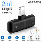 2IN1 Lightning Adapter Charging Splitter Headphone Jack AUX Cable Fr iPhone X 8