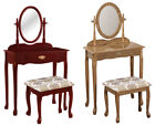 RK25 NEW GIRLS CHERRY OR OAK FINISH MAKE UP VANITY TABLE WITH BENCH MIRROR SET
