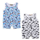 US Newborn Baby Boy Girl Romper Jumpsuit Playsuit Shark Clothes Outfits Summer