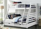White Wooden Triple Bunk Bed With Drawers - 3ft & Double Beds - Solid Pine