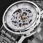 US Men Classic Transparent Steampunk Skeleton Mechanical Stainless Steel Watch