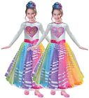 Girls Official Barbie Rainbow Sequin Reversible Panel Fancy Dress Costume Outfit