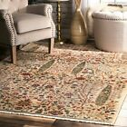 nuLOOM Contemporary Tribal Floral Fringe Area Rug in Green, Beige, Red