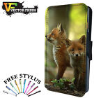 TWO CUTE BABY FOX IN WILD WOODS  LEATHER FLIP PHONE CASE COVER WALLET CARD HOLD