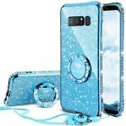 Samsung Galaxy Note 8 Case Protective Cover Bling Diamond Bumper Ring Stand Blue