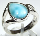 Rare AAA Genuine Dominican Larimar Solid 925 Sterling Silver Ring Size 6 & 6.5