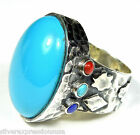 Genuine American Sleeping Beauty Turquoise 925 Sterling Silver Ring sz 7.5 or 8