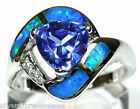 0.70 Ct Tanzanite & Blue Fire Opal Inlay Solid 925 Sterling Silver Ring 6,7,8,9
