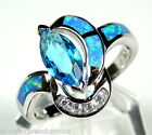 London Blue Topaz & Blue Fire Opal Inlay 925 Sterling Silver Ring size 6,7,8,9