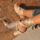 UK Ladies Womens Clubwear Ankle Strappy High Block Heels Sandals Shoes SIZE 3-8
