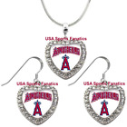 Los Angeles Angels 925 Necklace / Earrings or Set Team Heart With Rhinestones on Ebay