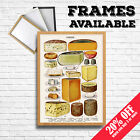 CHEESE Print Vintage Cheese Chart Poster, Food Home Kitchen Pub Wine House Decor